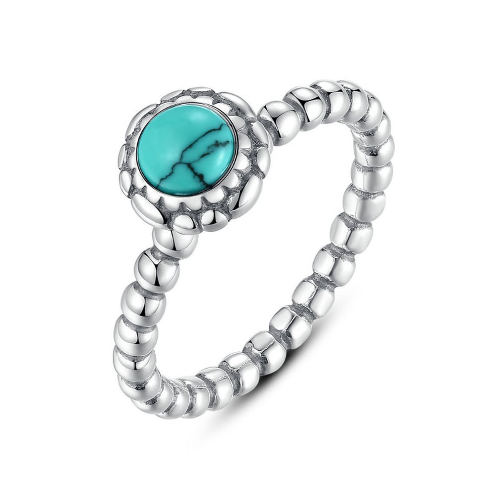 Everbling Birthday Blooms Ring, December 925 Sterling Silver Stackable Ring, Turquoise