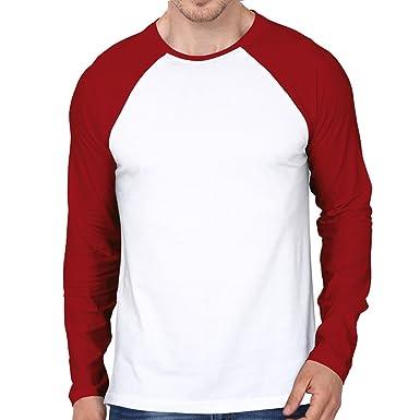 Men s Raglan Long Sleeve -Tshirt-190 (White and Red Colour) (99-FKT ... c7404a1bc8fd