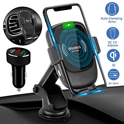 AmyZone Fast Wireless Charger Car Mount Auto Clamping Qi 10W Dashboard/AirVent Car Phone Holder for iPhone 8-11 Samsung S7-S10 Note 5-10 Google Pixel 4 (with LED Digital Display Car Charger Adapter)