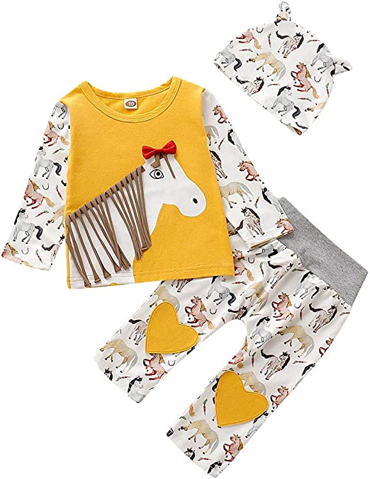 Newborn Infant Baby Kids Girl Long Sleeve Tops T-Shirt+Pants Outfit 3PCS Clothes