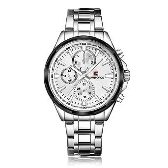 NAVIFORCE 9089 (Silver White) Men Sports Waterproof Stainless Steel Multi-function Quartz Watch