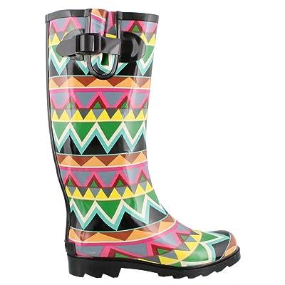 Corkys Rain Boots for Women, Black Multi Chevron, 6 B(M) US: Shoes