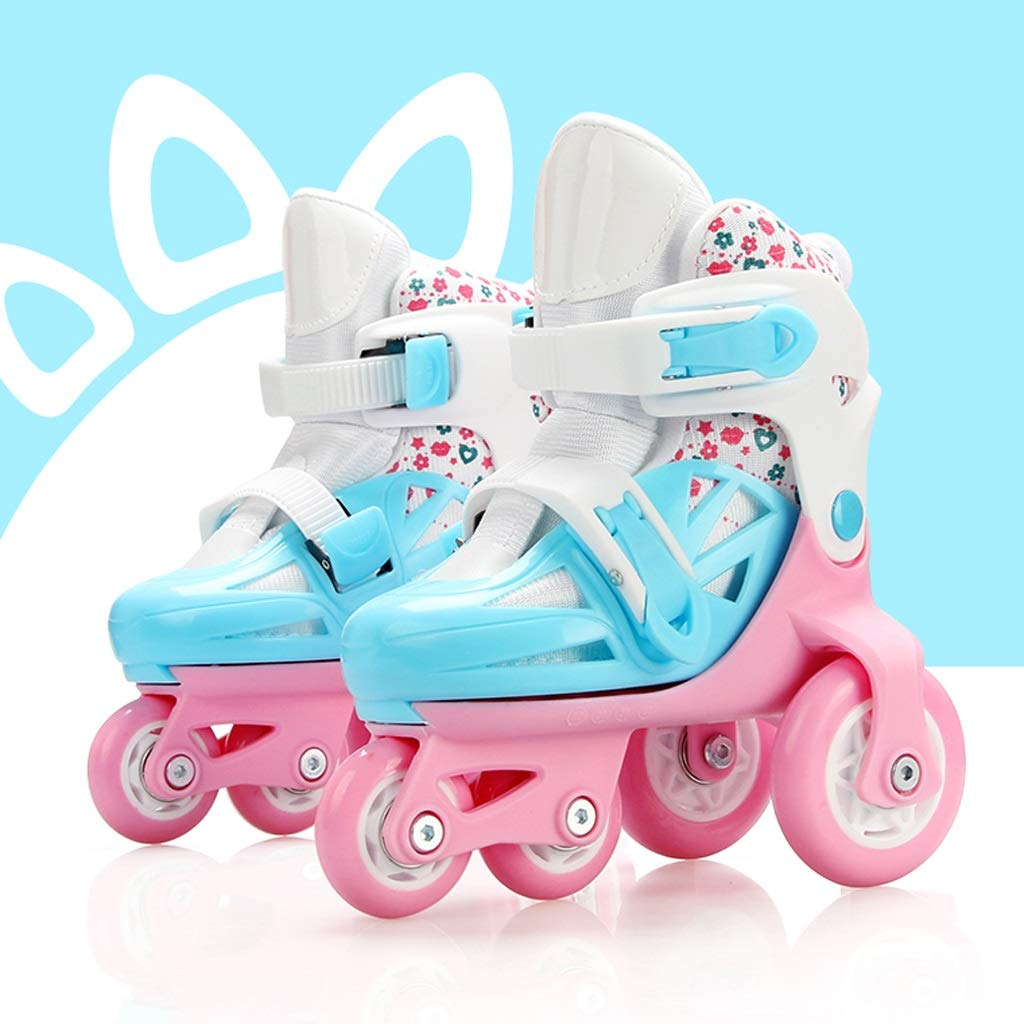 YANGXIAOYU Adult Beginner Children's Triangle Structure Skates, Professional Roller Shoes, Anti-Collision Shock Wheel, Helmet + Protective Gear (Color : Pink+Blue, Size : 29-33)