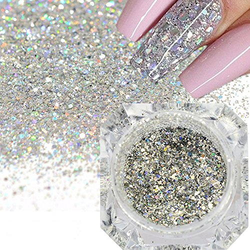 Diamond Dust Nail - Holographic Diamond Platinum Nail Flakes Dust Laser Silver Glitter Sequins Decorations DIY