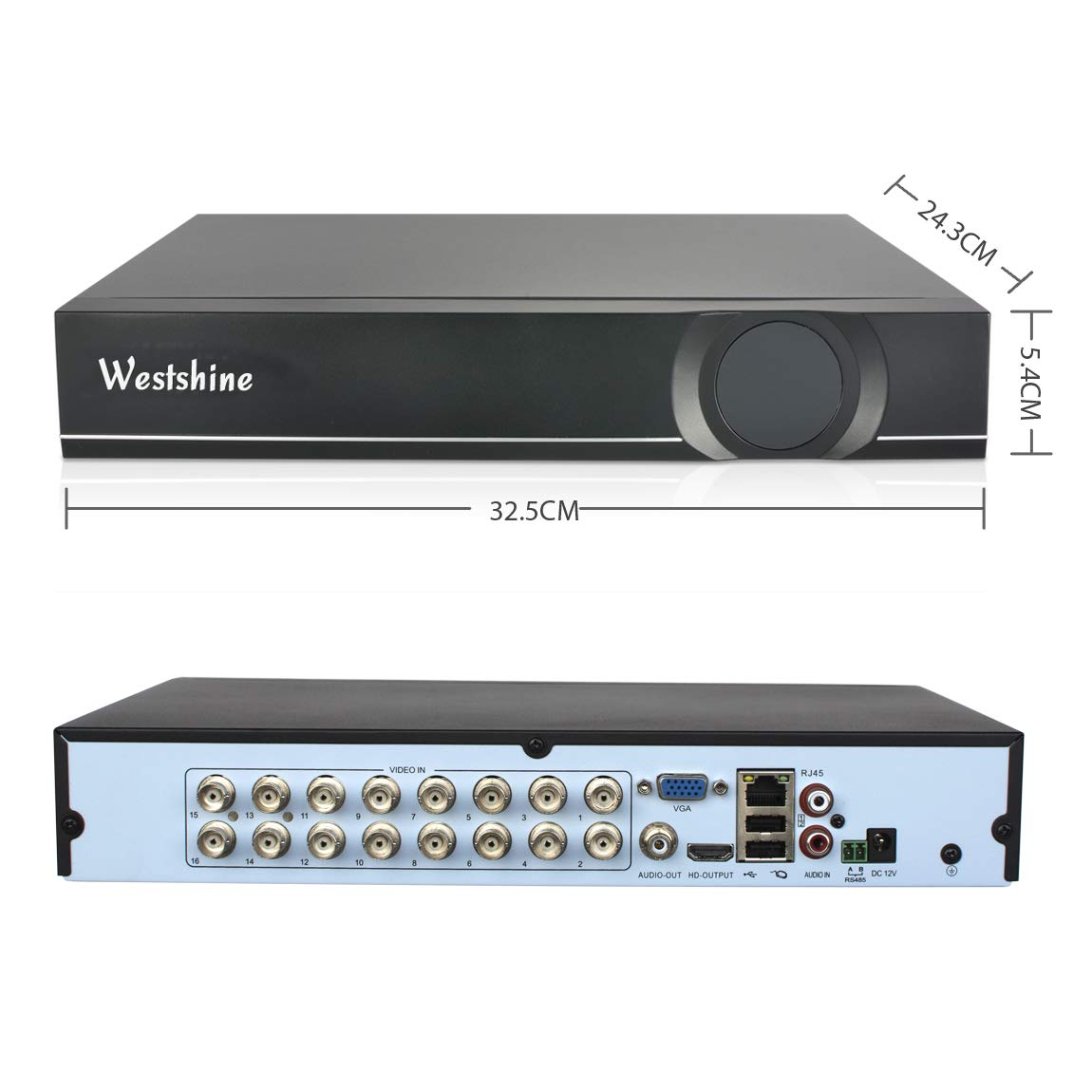 Westshine 16 Channel 1080N DVR,5 in 1 Hybrid (AHD/TVI/CVI/Analog/IP) CCTV Home Security System, H.265 HD Surveillance Digital Video Recorder, Support Onvif Motion Detection, Email Alert(NO HDD) by WESTSHINE