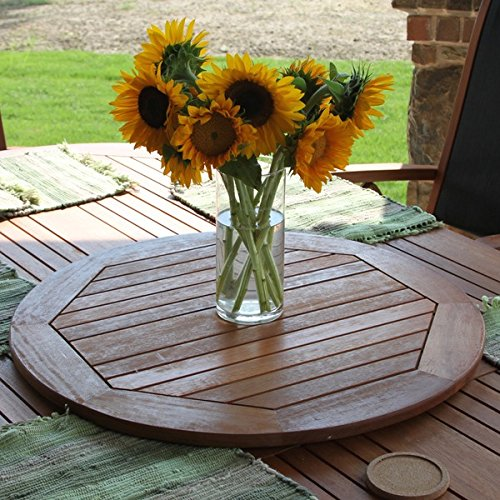 28-inch Round Lazy Susan with Solid Hardwood,Iron and durable,Finished (Balau Solid Wood)