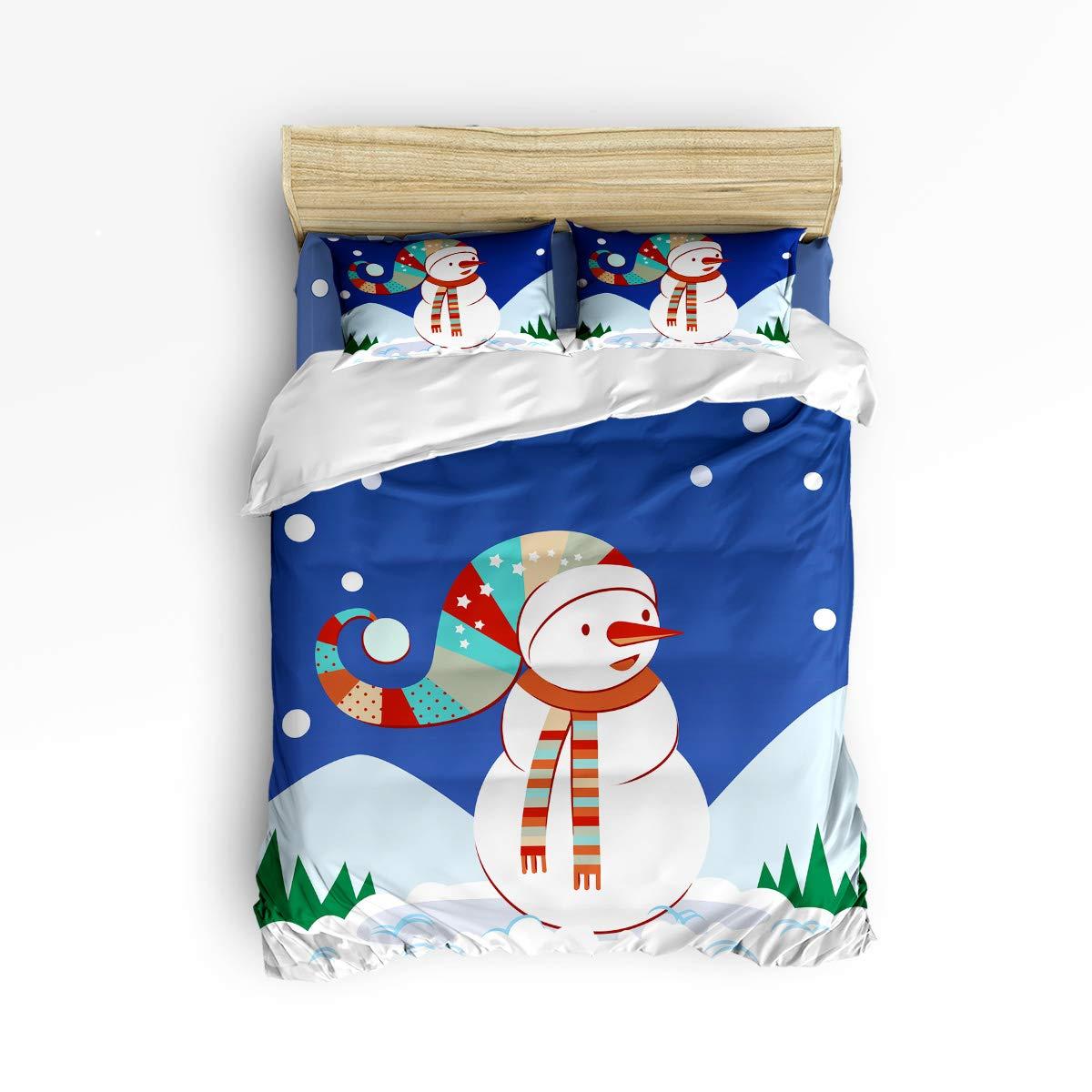 Anzona 4ピース 寝具セット 雪だるま スカーフとクリスマスハット 雪のイメージ 4ピース 羽毛布団カバーセット ベッドスプレッド デイベッド 子供/ティーン/大人用 フルサイズ 181031SJTzlyANZONA-SWTQ00592SJTBAZN B07K442PXW Snowman17azn7739 フルサイズ