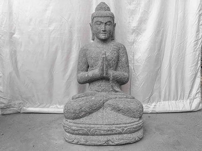 wanda collection Estatua de jardín Exterior Buda Sentado de Piedra volcánica 80 cm: Amazon.es: Jardín