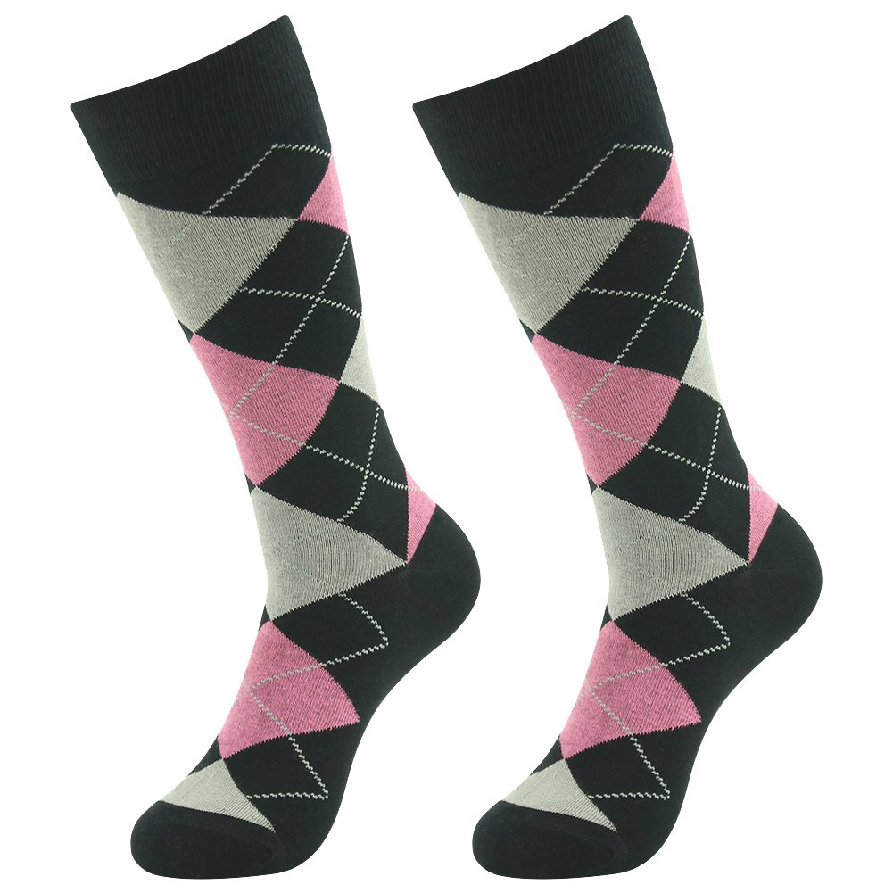 Groom Wedding Socks,SUTTOS Men's Boy's Youth 6 Pairs Crew Dress Socks,Custo Pink Black Argyle Jacquard Plaid Fancy Patterned Colored Argyle Cotton Formal Socks Mid Calf Casual Premium Dress Socks OS by SUTTOS (Image #6)