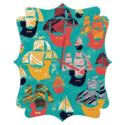 Deny Designs  Sam Osborne, Pirate Ships, Quatrefoil Clock, Medium by Deny Designs