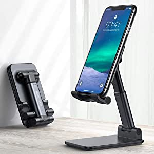 Cell Phone Stand, WORLDMOM Foldable Portable Desktop Stand Adjustable Height and Angle Phone Holder for Desk Sturdy Aluminum Metal Stand Smartphone/iPad/Kindle/Tablet,Black