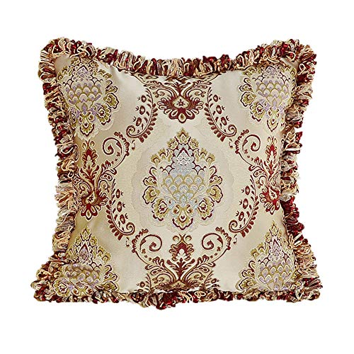 MeMoreCool Luxury Palace Style Exquisite Jacquard Throw Pillow Cover,Elegant Pillowcase with Fringe Edge Decor,Home Decor Sofa Cushion Cover