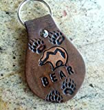 zuni bear - Heartline/ Zuni bear spirit animal leather keychain with bear tracks
