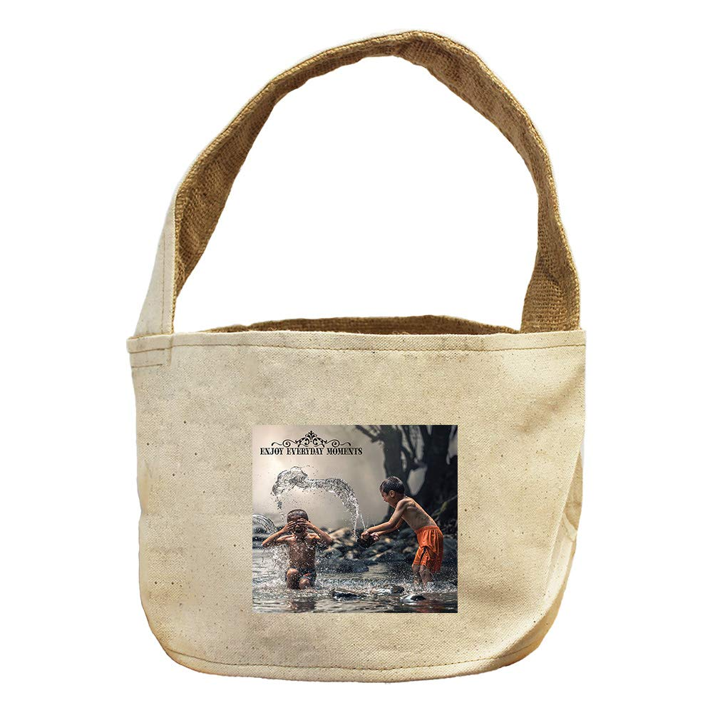 Enjoy Everyday Moments Boys Playing in River Canvas and Burlap Storage Basket