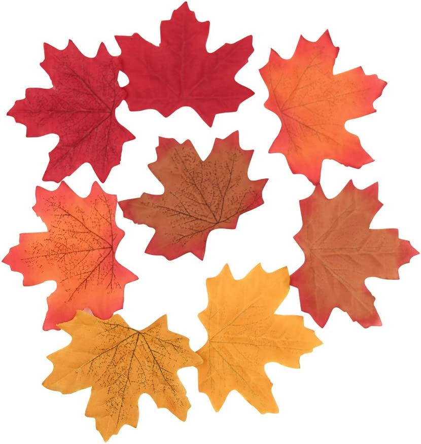 Sun Goodtimes Package of Approximately 200 Assorted Rich Fall Colored Silk Maple Leaves for Weddings, Events and Decorating