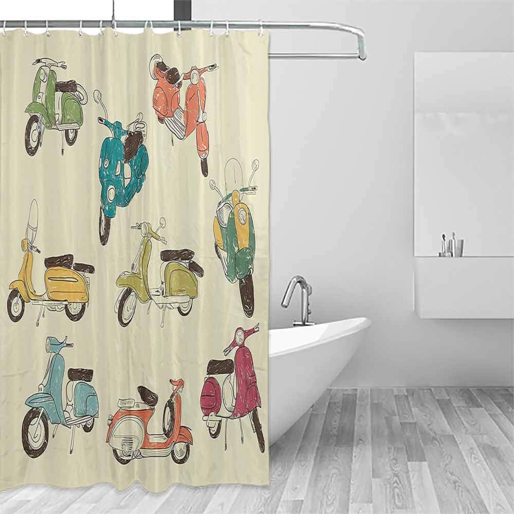 Home Shower Curtain 1960s Decorations Collection Scooters Daring Romantic Aged History Motor Trip Street Town Power Retro Art Decorated Bathroom W79 xL72 Soft Green Yellow Blue by Homrkey