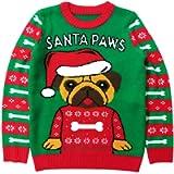 Tstars Santa Paws Pug Ugly Christmas Sweater Gift for Boys Girls 6yr - 12y Kids Sweater