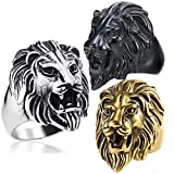 gold lion head ring - Retro 316L Stainless Steel Roaring Lion Mens Ring Engraved Carved, Gold Plated