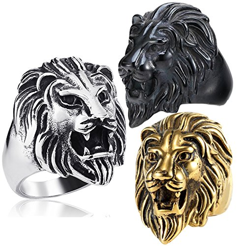 (Retro 316L Stainless Steel Roaring Lion Mens Ring Engraved Carved, Black)