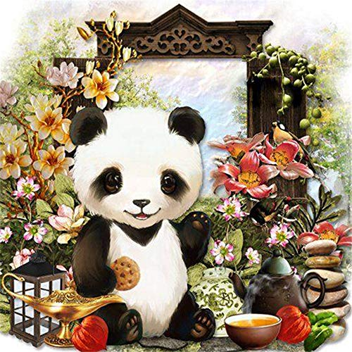 - DIY Oil Paint by Number Kit for Adults Beginner 16x20 Inch - Panda and Flowers,Drawing with Brushes Christmas Decor Decorations Gifts (Framed)