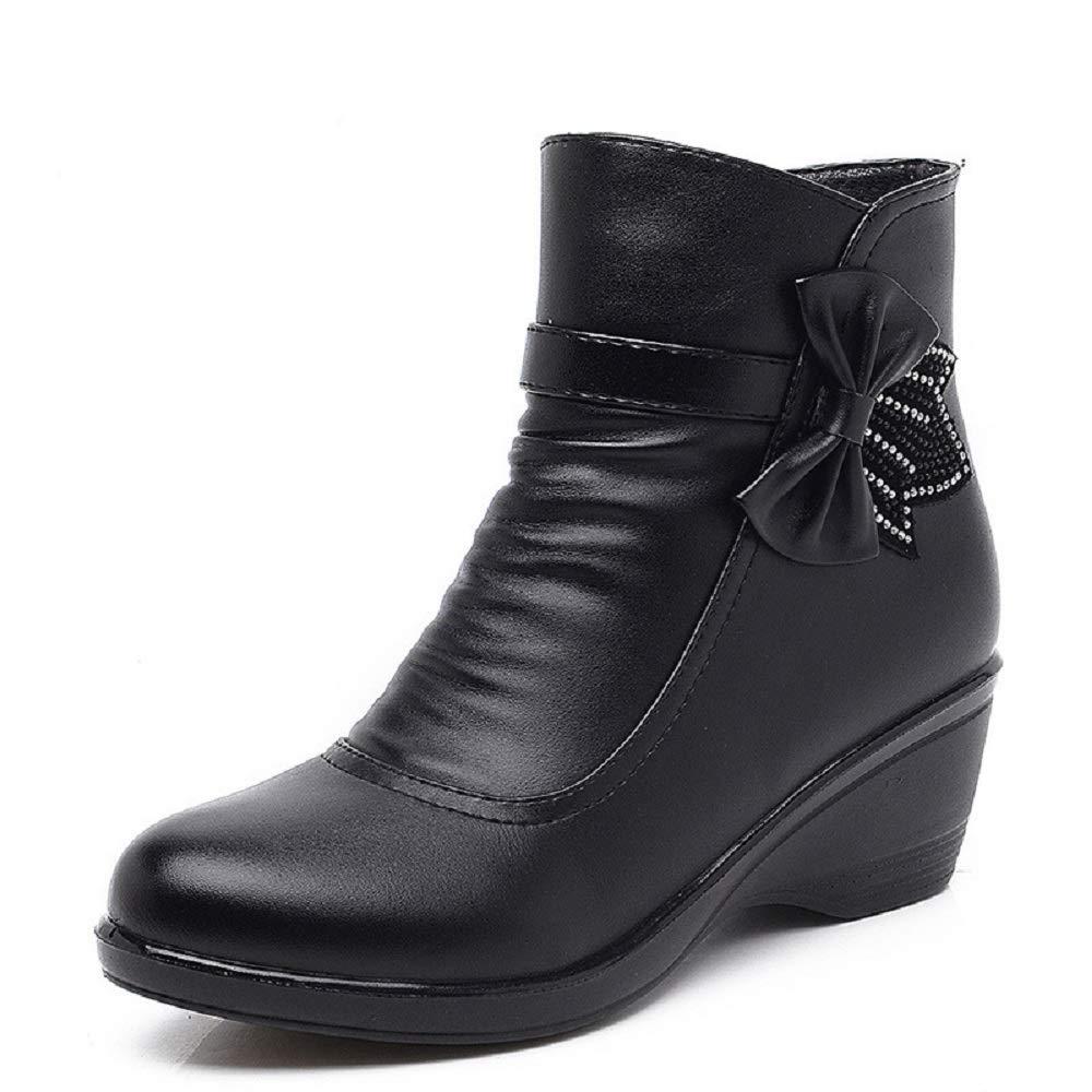 Gaslinyuan Keilabsatz Stiefel Frauen Frauen Stiefel Perlen Bowknot Leder Reißverschluss Schuhe (Farbe   Schwarz, Größe   EU 37) 1dde88
