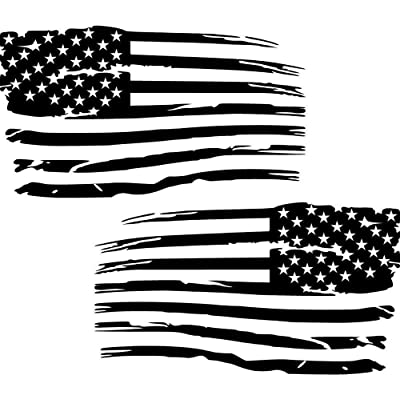 Cartat2s (2) Distressed American Flag Old Glory Military Grunge Patriotic Car Truck Vinyl Decal Hood Wall Window Toolbox Bumper Sticker 5 X 3 inches Matte Black: Kitchen & Dining