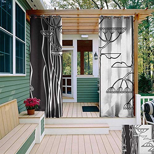 leinuoyi Black and White, Outdoor Curtain Waterproof, Abstract Fennel Plants with Seeds Monochrome Garden Condiment Ornament, for Gazebo W72 x L108 Inch Black White