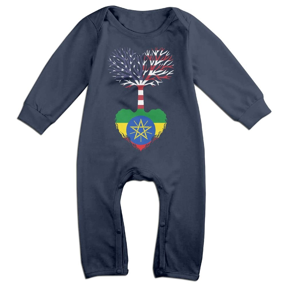 Mri-le1 Baby Girls Coverall American Grown Ethiopia Root Infant Long Sleeve Romper Jumpsuit