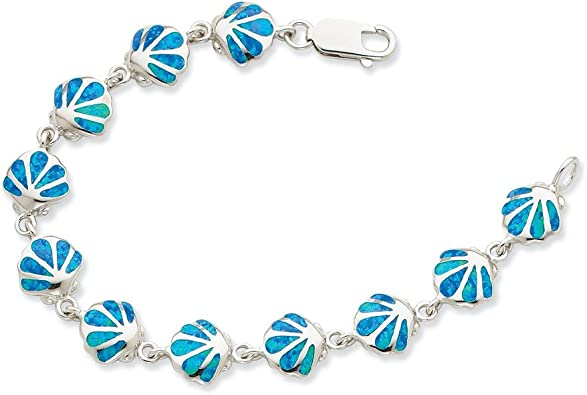 Sterling Silver Created Blue Opal Seashell Charm Anklet