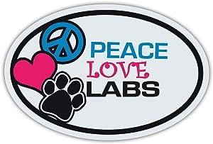 "Refrigerator Magnet - Peace, Love, Labs (Labrador Retrievers, Black, Yellow, Chocolate) - 6"" X 4"""