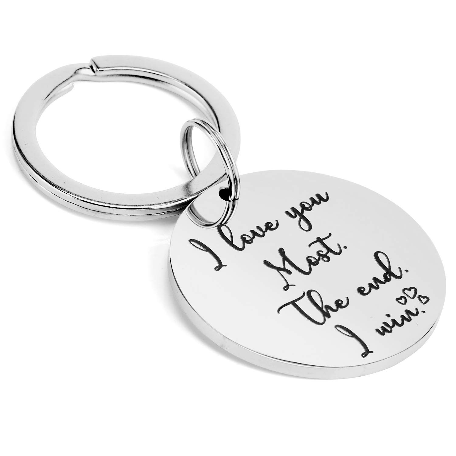 Funny Couple KeyChain Gifts for Husband Wife Boyfriend Girlfriend BFF,Sweet Gag Gifts for Anniversary Birthday Wedding Valentine Day- I Love You Most The End I Win