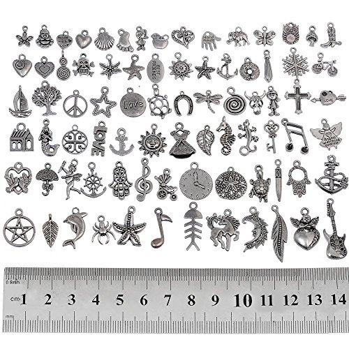 RUBYCA 80Pcs Assorted Mixed Silver Charms Pendants for Bracelets Jewelry Making Crafting Supplies, Tibetan Silver Color Charms, Just Like the Picture (Mix5)