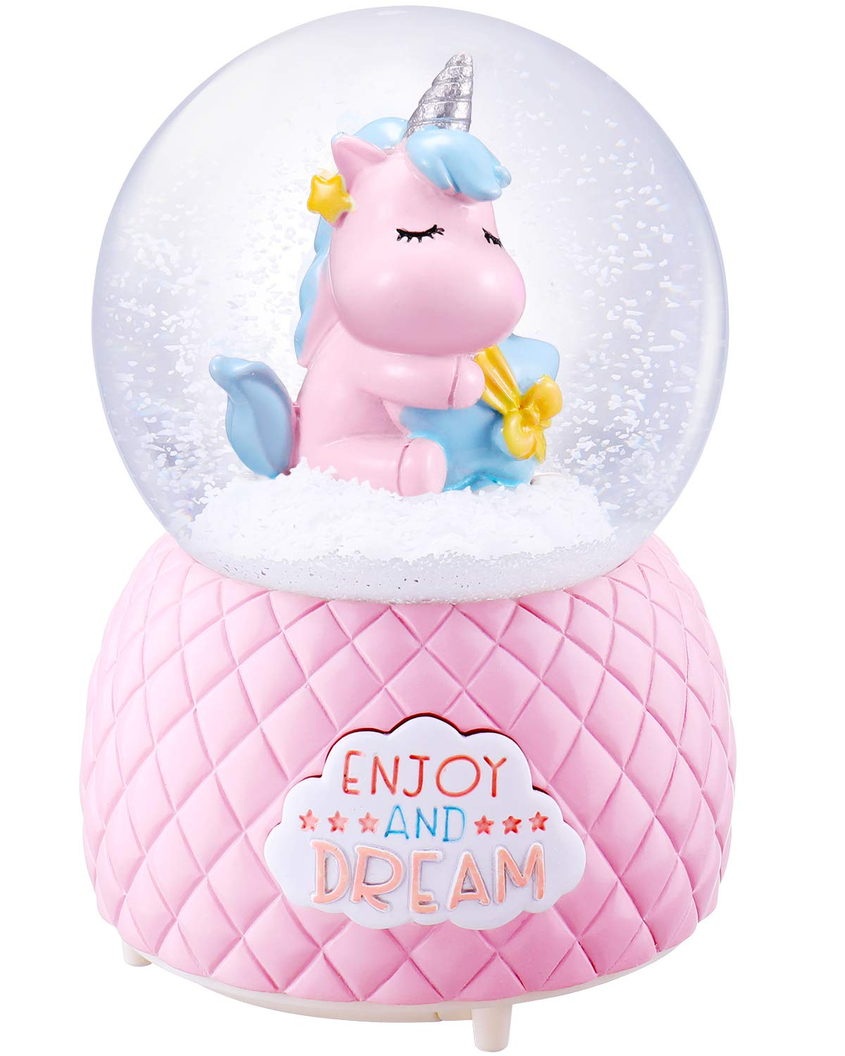 Musical Unicorn Snow Globe for Kids, 100mm Resin Glitter Music Box with Multiple Tunes, Gift for Girls - Pink