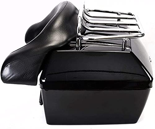 Motorcycle Trunk Tail Box Luggage Case w/Back rest and Top Rack for Yamaha Touring