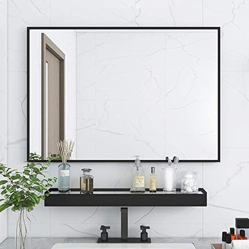 SILD Large Modern Black Aluminum Wall Mirror 24 x36 Glass Panel Vanity or Mirrors for Wall, Rectangle Hangs Horizontal or Vertical
