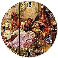 Ahşap Zeminde Uzanıp Nargile İçen 3 Kadın Duvar Saati