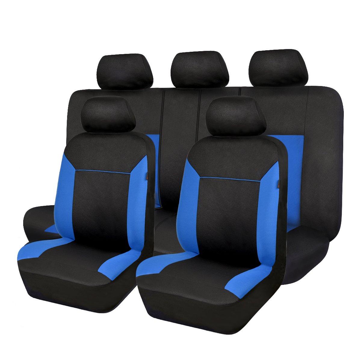 Flyingバナー11pcsメッシュColorizedユニバーサルフィット車シートカバーソフトシート保護カバーfor cars-airbag B01N524TA1  ブラックとブルー -