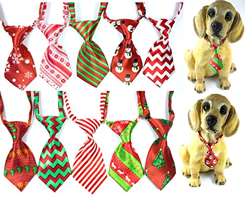 10pcs/pack Dog Christmas Ties Small Cat Dog Ties Xmas Puppy Dog Neckties Bow Ties Cat Dog Ties for Christmas Festival Dog Collar Dog Accessories (Cat Christmas Tie Bow)