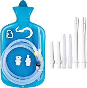Enema Bag 2L Home Enema Kit with 6.5ft Long Silicone Hose, 7 Enema Tips, Controlable Water Flow Valve, 2 Quart Capacity Hot-Water Bottle for Colon Cleansing Enemas