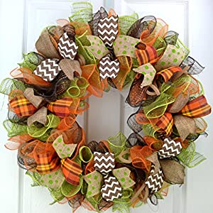Fall Thanksgiving Deco Mesh Door Wreath; Brown Green Orange Burlap