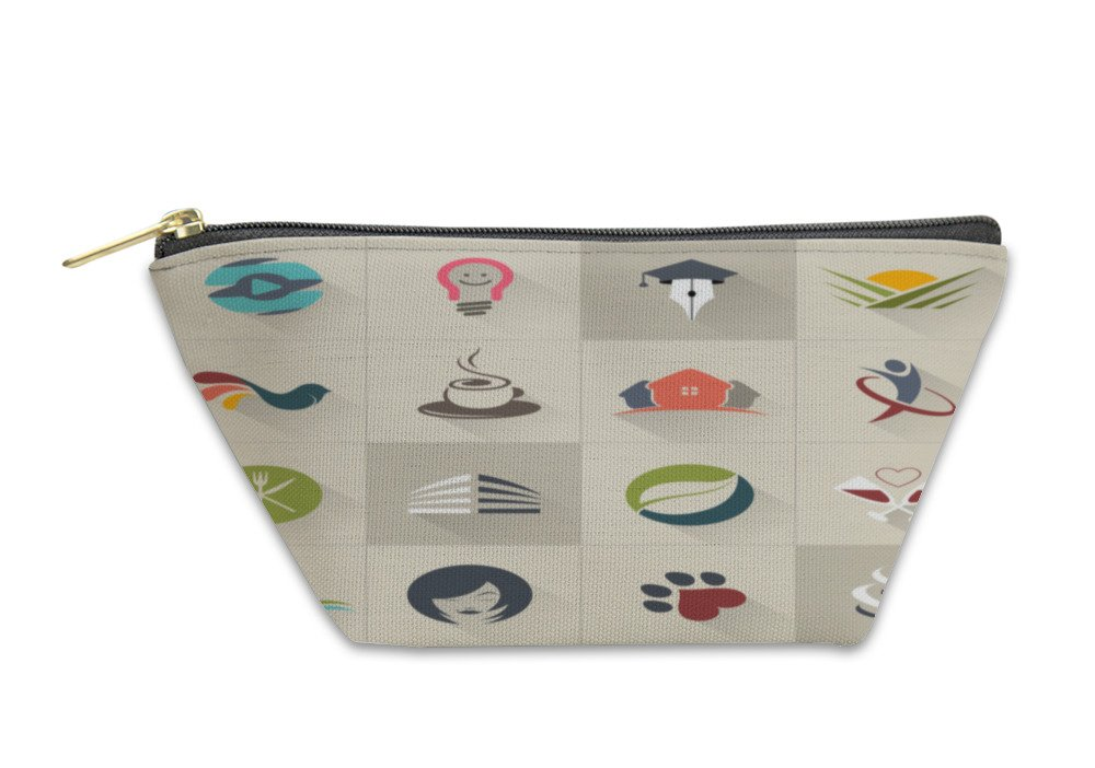 Gear New Accessory Zipper Pouch, Set Of Logos Web Icons And Business And Abstract Symbols, Large, 6070723GN