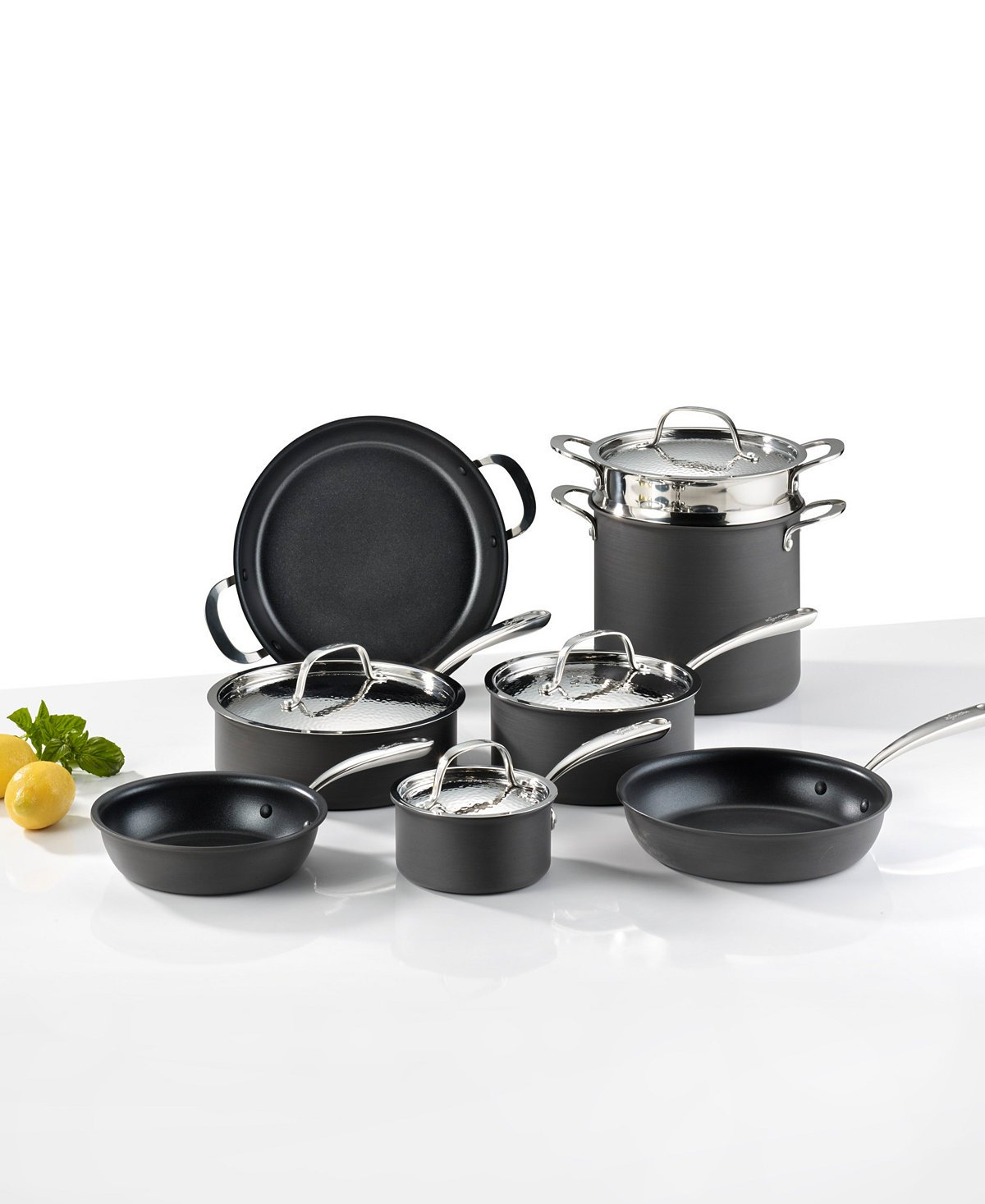 Lagostina Nera Hard Anodized Nonstick 12-Pc. Cookware Set (Impeccable Italian Cookware) by Lagostina