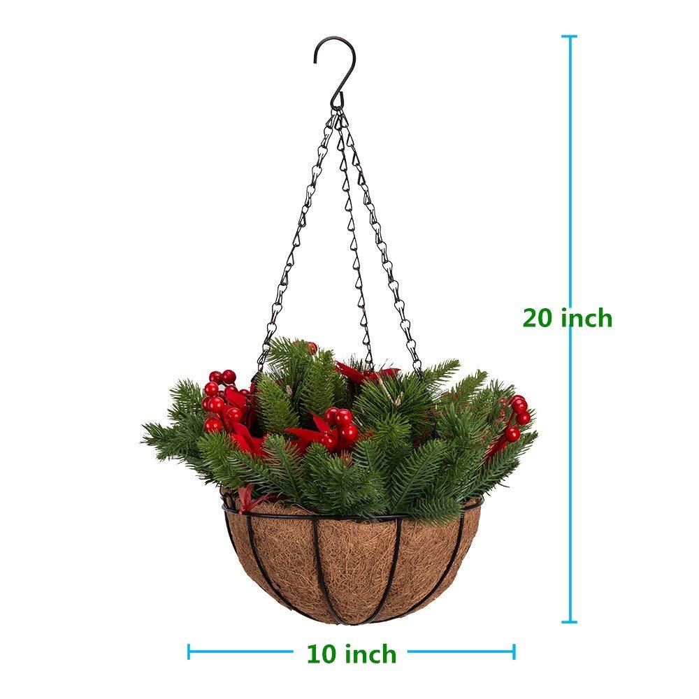 Christmas Hanging Baskets.Amazon Com Mixiflor 10 Inch Christmas Hanging Baskets