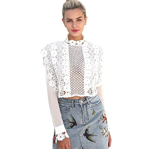 4e5c716fc4ba9 Image Unavailable. Image not available for. Color  Froomer Women Sexy Lace  Hollow Crop Tops Long Sleeve Black Blouse ...