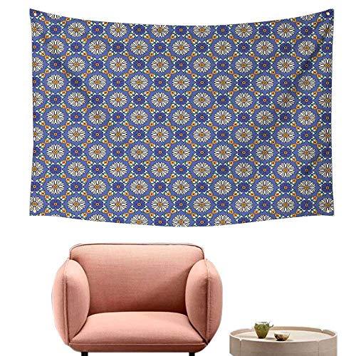 Agoza Decorative Tapestry Geometric Flower Portuguese Azulejo Pattern Arabesque Oriental Influences Wall Hanging Carpet Throw 59