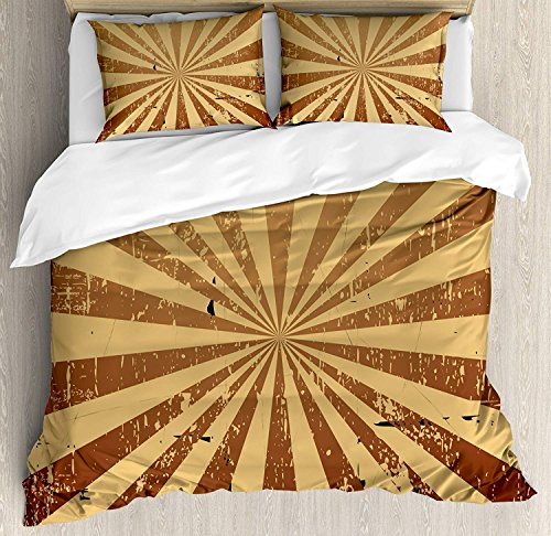 Beauty Decor Tan Duvet Cover Set Sunburst Pattern Aged Rusty Jagged Grungy Retro Style Rays Old Worn Composition Microfiber Bedding Sets with Zipper and Corner Ties Brown Pale Brown (4 ()
