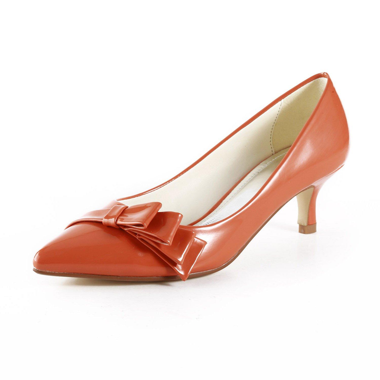 TDA TH12102 Womens Kitten Heel PU Leather Ruched Evening Parting Bridal Wedding Dress Pumps B00NWM23CG 7 B(M) US|Orange
