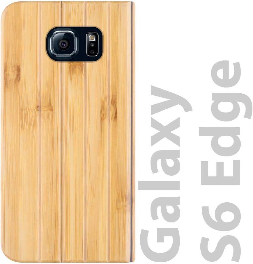 iATO Samsung Galaxy S6 Edge Book Type Case - Real Bamboo Wood Grain Premium Protective Shockproof Folio Flip Cover - Unique, & Classy Front & Back Bumper Accessory Designed for Samsung Galaxy S6 Edge