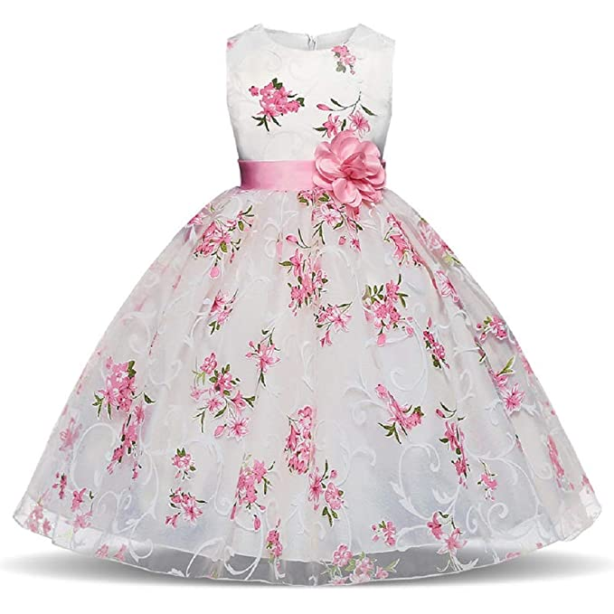 72035ca61 GIO244 Vestido Blanco Flor Rosa Fiesta Cumpleaños Bautismo Ceremonia  Verano Invierno Ropa Infantil Princesa Fiesta