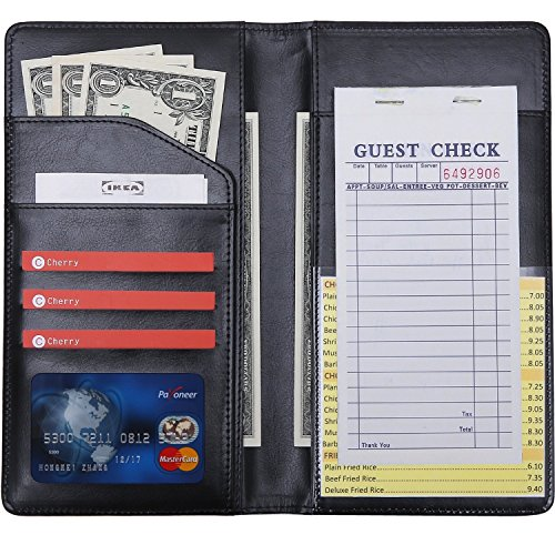 5'' x 9'' Big Waiter Book Server Wallet Server Pads Waitress book Long Restaurant Waitstaff Organizer, Guest Check Book Holder Money Pocket Big Size(Black) by Mymazn